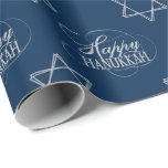 """Happy Hanukkah Star of David Classic Silver Navy Wrapping Paper<br><div class=""""desc"""">Minimal classic silver Bar/Bat Mitzvah and Hanukkah modern Star of David against a solid background creates an elegant,  sophisticated design. For other coordinating colors or matching products,  visit JustFharryn @ Zazzle.com or contact the designer,  c/o Fharryn@yahoo.com  All rights reserved. #zazzlemade #christmasdecor</div>"""