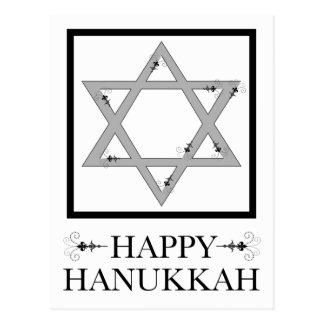 happy hanukkah : star of david elegant flourish postcard