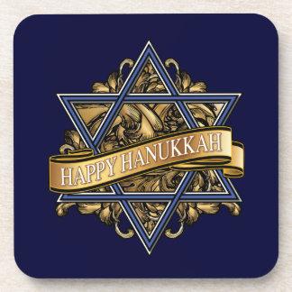 Happy Hanukkah Star of David Greeting Drink Coaster