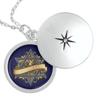Happy Hanukkah Star of David Greeting Sterling Silver Necklace