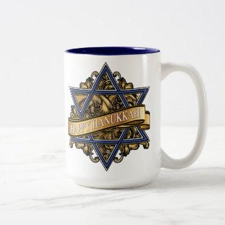 Happy Hanukkah Star of David Greeting Two-Tone Coffee Mug