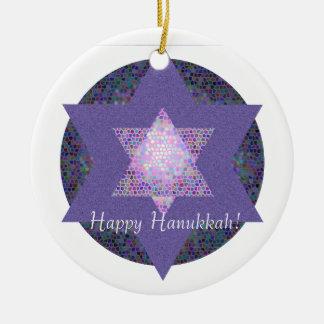 Happy Hanukkah! Star of David MultiColored Double-Sided Ceramic Round Christmas Ornament