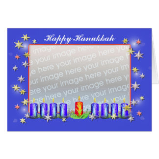 Happy Hanukkah Stars and Candles (photo frame) Greeting Cards
