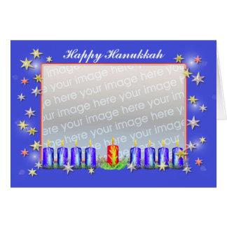 Happy Hanukkah Stars and Candles (photo frame) Card