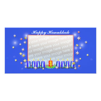 Happy Hanukkah Stars and Candles Picture Card