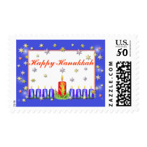 Happy Hanukkah Stars and Candles Postage