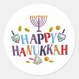 Happy Hanukkah Round Sticker