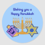 "Happy Hanukkah Sticker<br><div class=""desc"">""Wishing you a Happy Hanukkah"". Stickers with a dreidle,  menorah & star of david in bright colors.</div>"