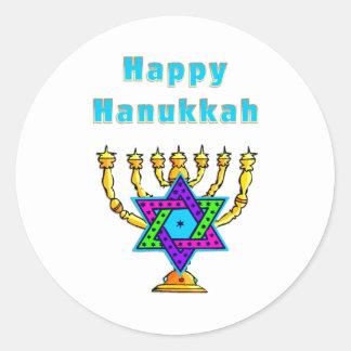 Happy Hanukkah Round Stickers