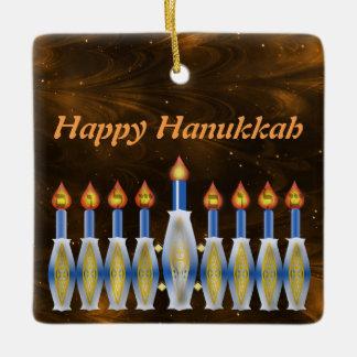 Happy Hanukkah Stylized Menorah Nebulous Sky Ceramic Ornament