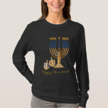 "Happy Hanukkah T-Shirt<br><div class=""desc"">Ladies Long Sleeve Hanukkah Tee The classic long-sleeve t-shirt,  made just for women. Pre-shrunk 5.0 ounce 100% combed,  ring-spun cotton,  super-soft baby jersey knit. Coverstitched 3/4"" bottom hem and sleeve opening. Custom contoured fit. Made by Bella. Imported.</div>"