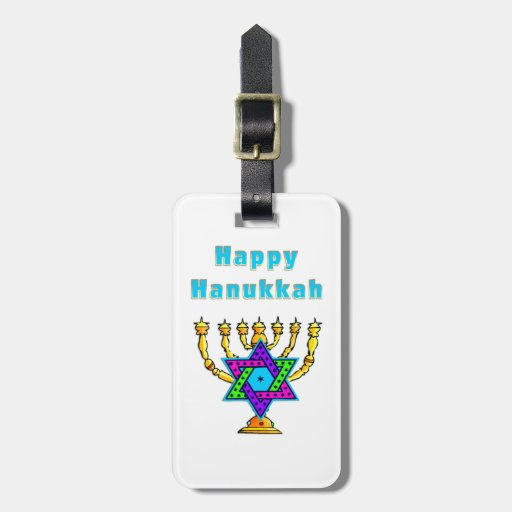 Happy Hanukkah Travel Bag Tag