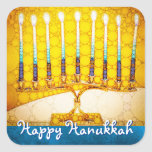"""""""Happy Hanukkah"""" Trendy Artsy Yellow Gold Menorah Square Sticker<br><div class=""""desc"""">""""Happy Hanukkah"""". A close-up photo of a bright, colorful, yellow gold artsy menorah photo helps you usher in the holiday of Hanukkah. Feel the warmth and joy of the holiday season whenever you use this stunning, colorful Hanukkah sticker. Matching cards, stamps, tote bags, serving trays, and other products are available...</div>"""