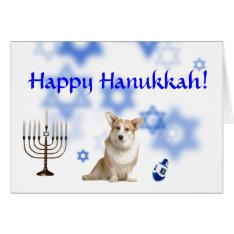 Happy Hanukkah Welsh Corgi (caridgan) Card at Zazzle