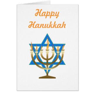 Happy Hanukkah with menorah and star of david Card