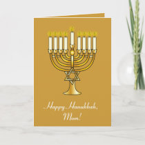 Happy Hanukkah with Menorah: Mom Holiday Card