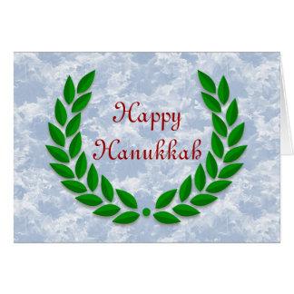 Happy Hanukkah with olive wreath custom text Card