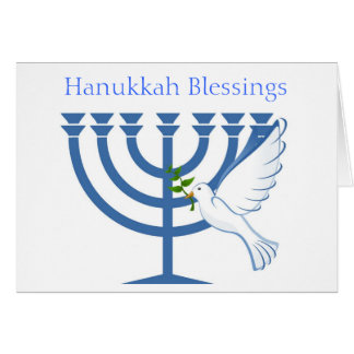 Happy Hanukkah with peace dove and menorah Card