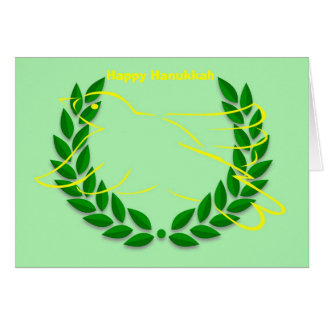 Happy Hanukkah with peace dove and olive wreath Card