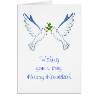 Happy Hanukkah with peace doves custom text Card