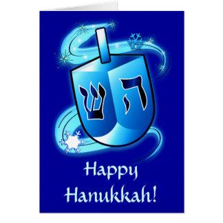 Happy Hanukkah with Spinning Dreidel on Blue Card