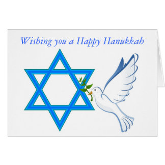 Happy Hanukkah with star of david and peace dove Card