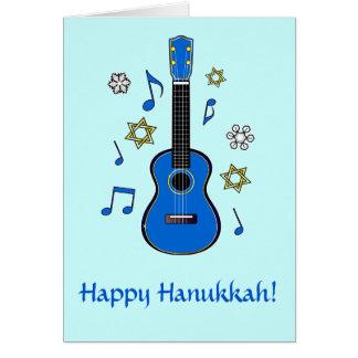 Happy Hanukkah with Ukulele and Stars Card