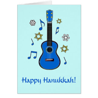 Happy Hanukkah with Ukulele and Stars Greeting Card
