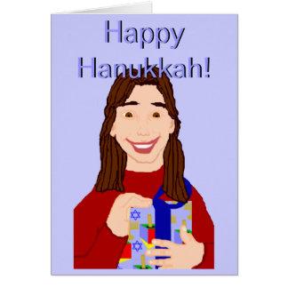 Happy Hanukkah (Young Woman) Greeting Card
