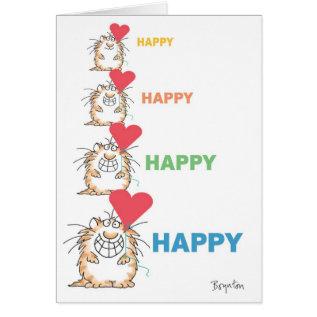 Happy Happy Cat Valentines By Boynton Card at Zazzle