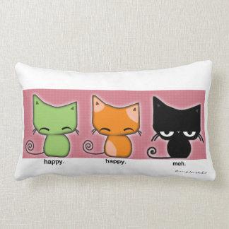 happy happy meh cats pillow