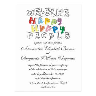 happy happy people wedding invite postcard