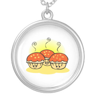 Happy Happy Sad Muffins Silver Plated Necklace