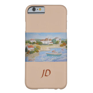 Happy Harbour painting, folk art add monogram name Barely There iPhone 6 Case