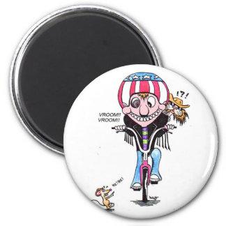 Happy Harry & Hooch (bikers?) 2 Inch Round Magnet