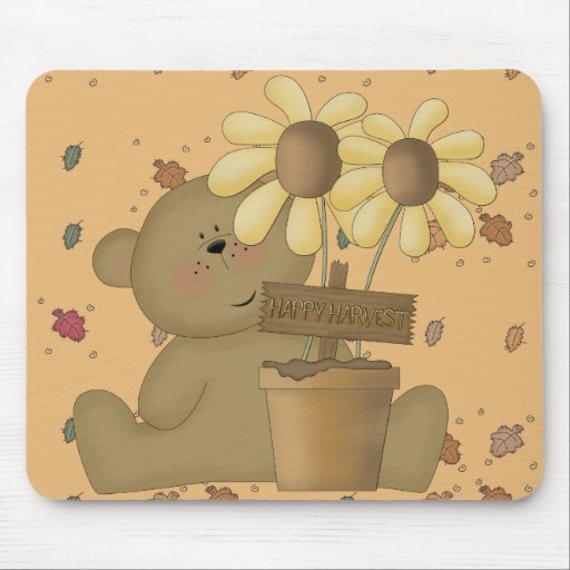 happy harvest teddy bear mouse pad