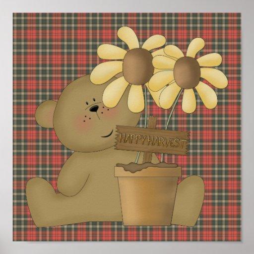 happy harvest teddy bear poster