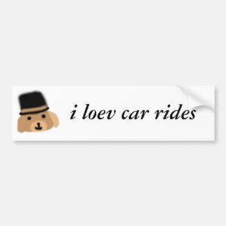Happy Hat Dog Loevs Car Rides Bumper Sticker