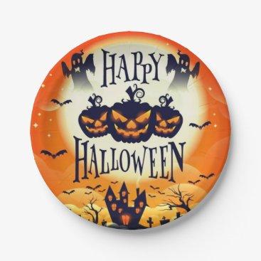 Halloween Themed Happy Haunted Halloween Paper Plate