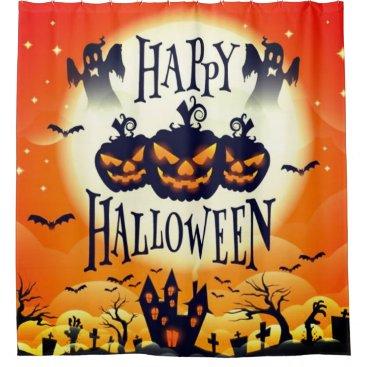 Halloween Themed Happy Haunted Halloween Shower Curtain