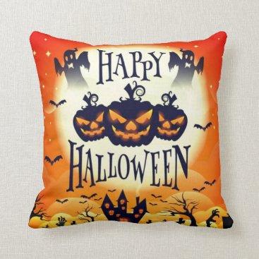 Halloween Themed Happy Haunted Halloween Throw Pillow