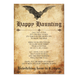 Happy Haunting Bat Halloween Invitation