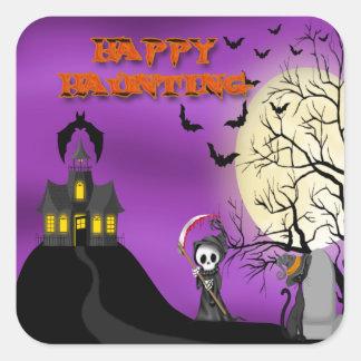 Happy Haunting Reaper Square Sticker