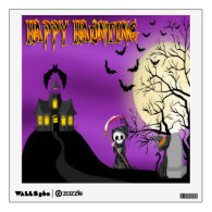 Happy Haunting Reaper Square Wall Decal