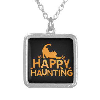 happy haunting with cat and corn silver plated necklace