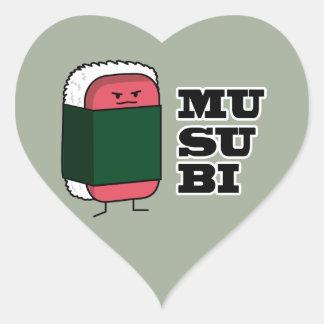 Happy Hawaiian Musubi Spam Sushi Heart Sticker
