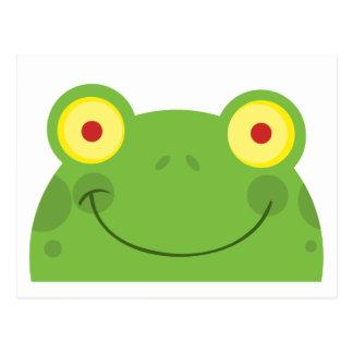 Happy Head Frog Cartoon Character Post Cards