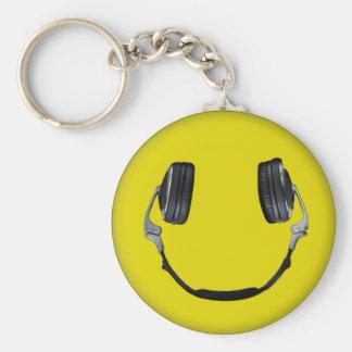 Happy Headphone Smiley Key Chains