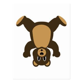 Happy Headstand Brown Bear Postcard
