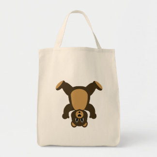 Happy Headstand Brown Bear Tote Bag